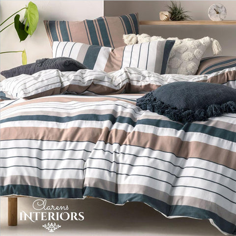 Renny brown/black stripes duvet cover set Clarens Interiors linen