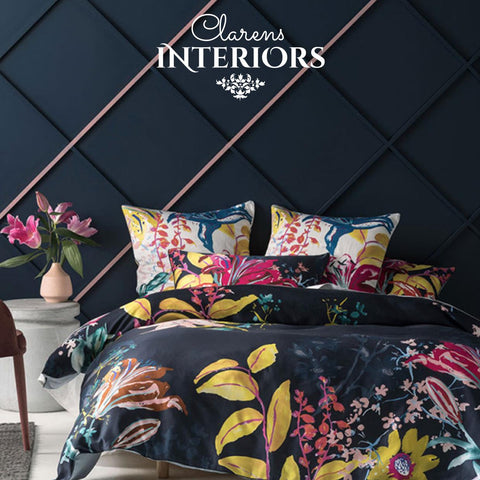 Linen House Tennessee navy and floral duvet cover Clarens Interiors linen