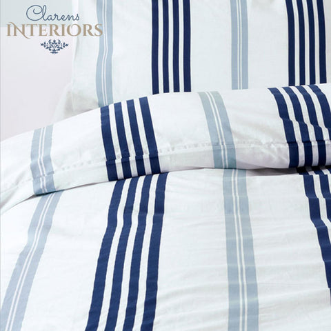 Brighton blue/white stripes duvet cover set Clarens Interiors linen