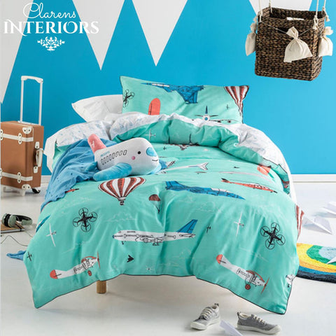 Fly with me Blue Duvet Set Clarens Interiors Bed Linen