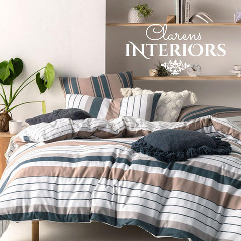 Linen House Renny blue/brown stripe duvet cover Clarens Interiors linen