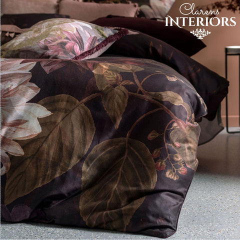 Neve Deep Purple Floral Duvet Set Clarens Interiors Bed Linen