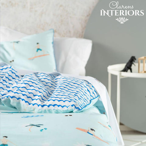 Sun and Surf Blue Duvet Set Clarens Interiors Bed Linen