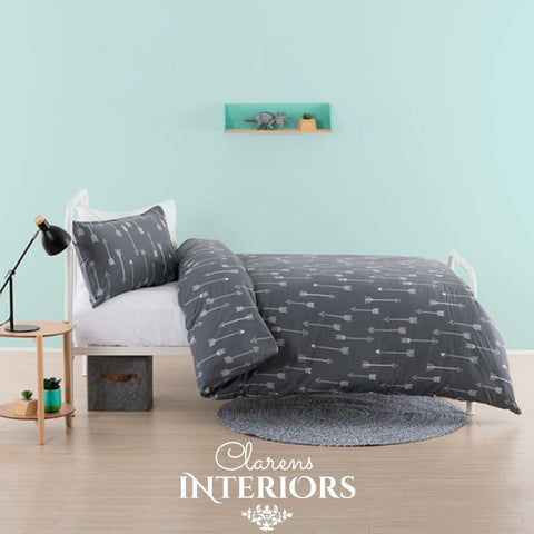 Arrows Charcoal Duvet Set Clarens Interiors Bed Linen