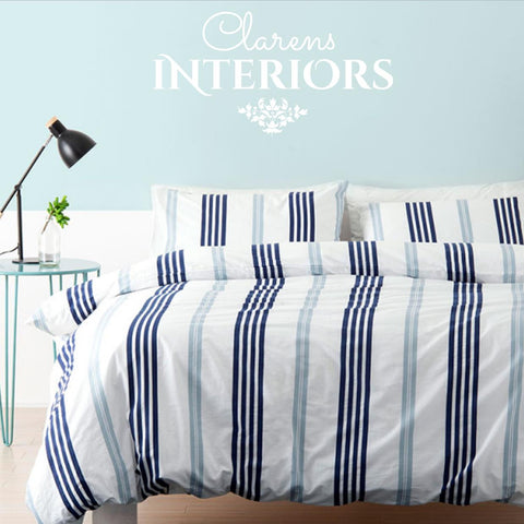 Linen House Brighton blue stripe duvet cover Clarens Interiors linen
