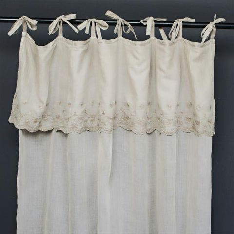 NATURAL LINEN CURTAIN WITH POLE TIES