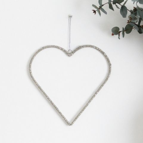 SILVER GLASS BEADED HEART SMALL