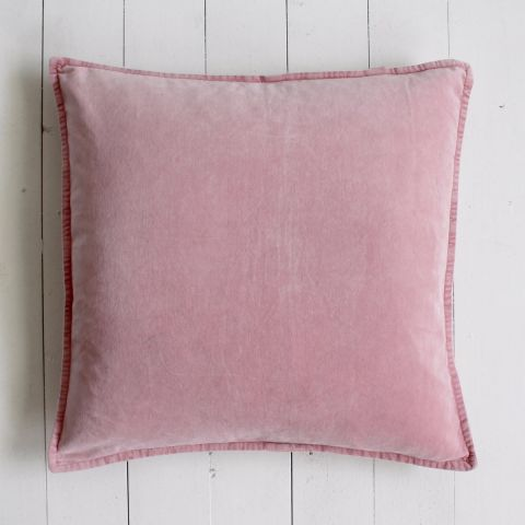 FLAMINGO PINK STONEWASHED VELVET CUSHION