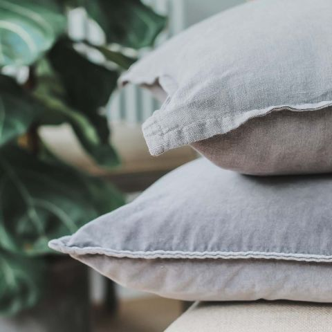 BABY BLUE STONEWASHED VELVET CUSHION
