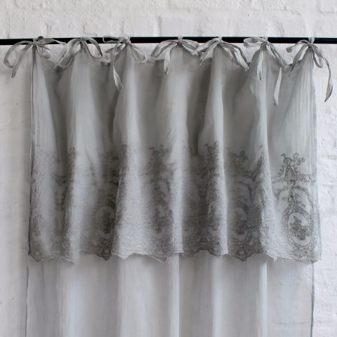 SINGLE GREY VIOLET EMBROIDERED VOILE CURTAIN PANEL