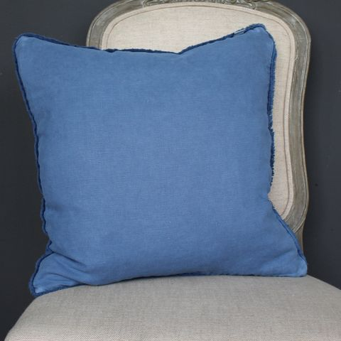 BLUE BRUSH FRENCH BORDER CUSHION