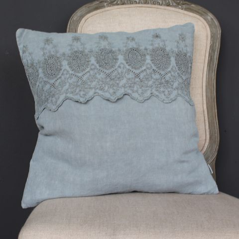 BLUE CUSHION WITH EMBROIDERED ANGLAISE BAND