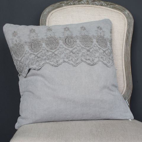 GREY LINEN CUSHION WITH EMBROIDERED ANGLAISE BAND