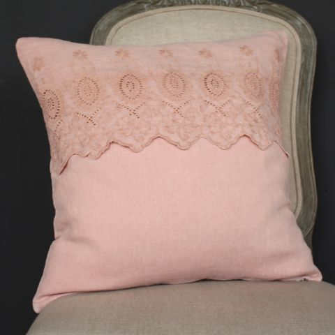 PINK CUSHION WITH EMBROIDERED ANGLAISE BAND