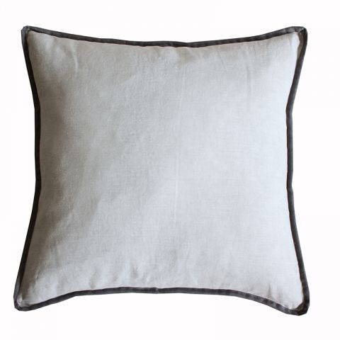 GREY/CHARCOAL PIPING BORDER CUSHION