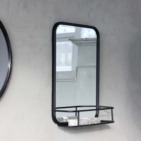 OLIVER BLACK METAL SHELF MIRROR