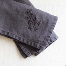 PURE LINEN MONOGRAMMED NAPKIN - CHARCOAL