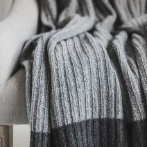 WOOL RICH DARK GREY RIBBED THROW