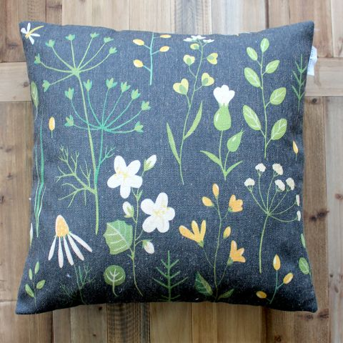MIDNIGHT FLOWER CUSHION - LARGE