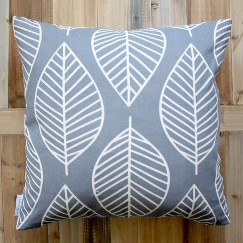 FOLIAGE CUSHION -GREY/BLUE