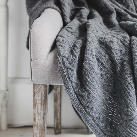 WOOL RICH DARK GREY CABLE THROW