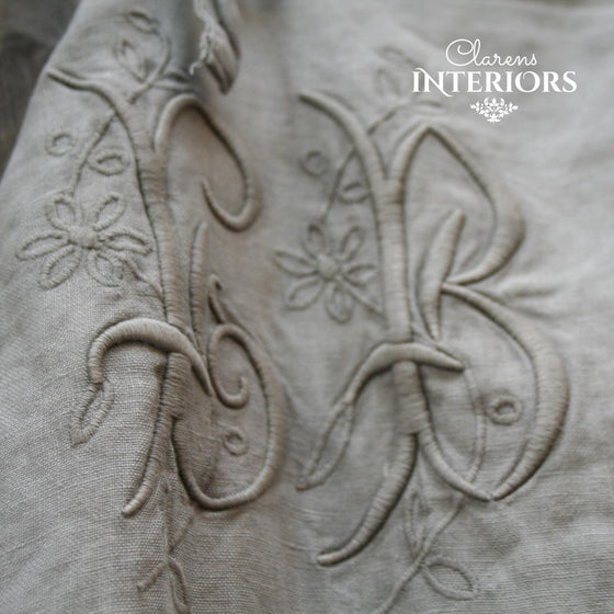 100% LINEN MONOGRAM TIE CURTAIN - GREY