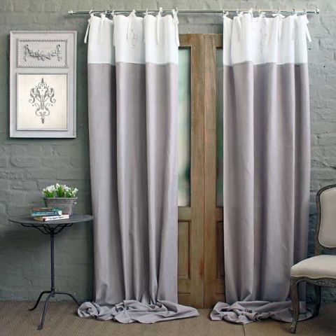 SINGLE LADDER STITCH AND VINTAGE EMBROIDERED CURTAIN PANEL