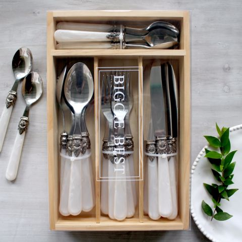 PEARL HANDLE, ROYAL CLASP 24PC CUTLERY SET