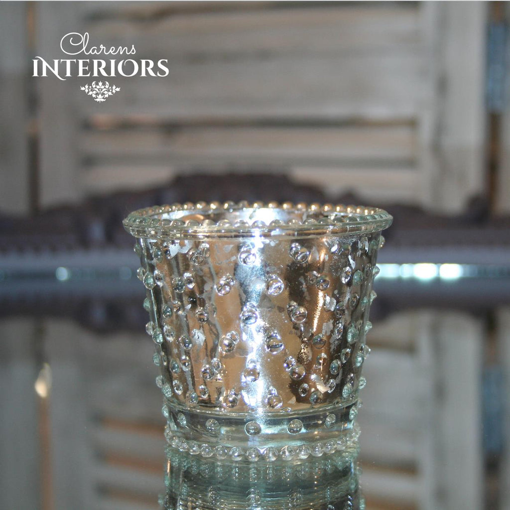 Silver dotted Candle Holder