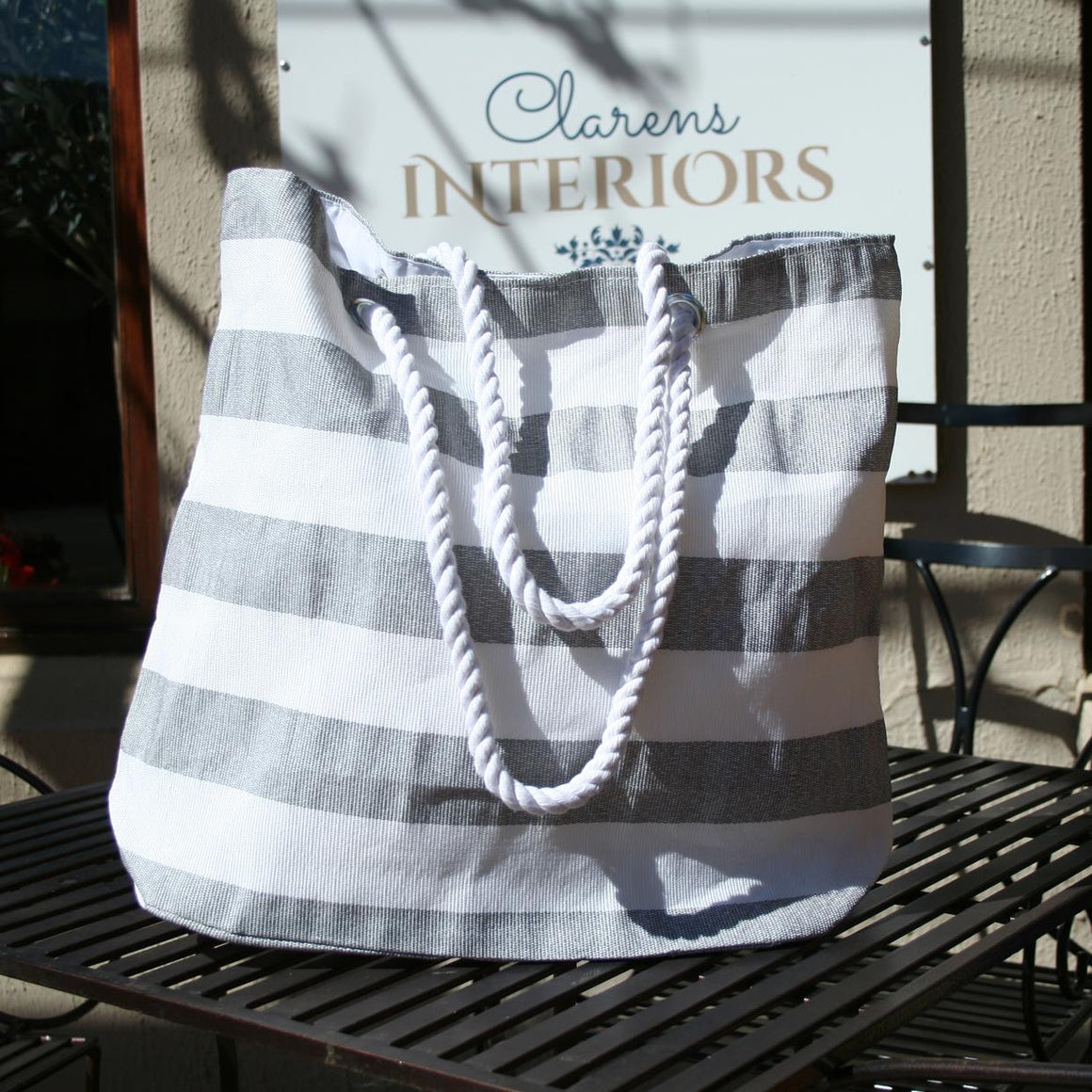 Beach Bag Grey Stripe
