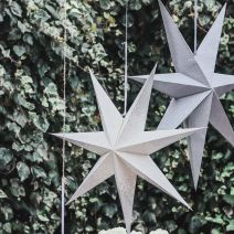 WHITE/SILVER GLITTER LIGHT UP STAR 60CMS