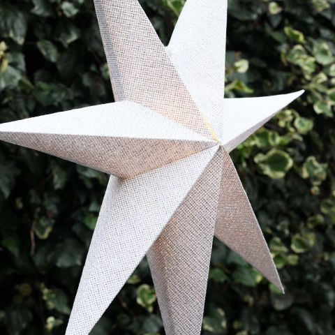 WHITE/SILVER GLITTER LIGHT UP STAR 75CMS