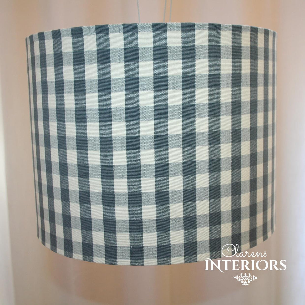Block Check Grey Lamp shade