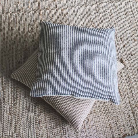 SARI LARGE GREY MULTI STRIPE CUSHION