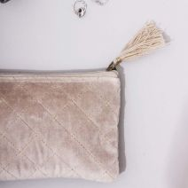 SMALL VELVET BAG, BEIGE WITH METALLIC STITCHING