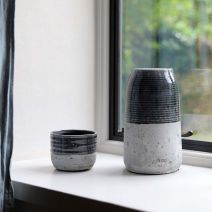 LIGHT BLUE CEMENT TERRAIN VASE