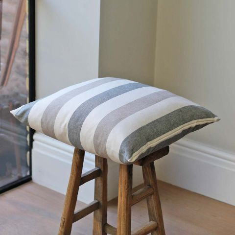 STRIPED GREY AND NATURAL CUSHION