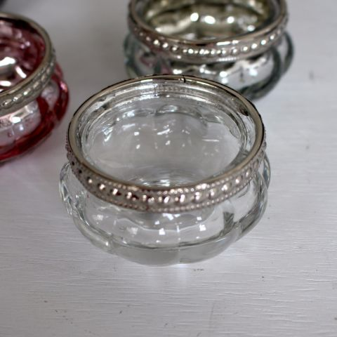 QUEEN ANN SMALL GLASS POT, CLEAR