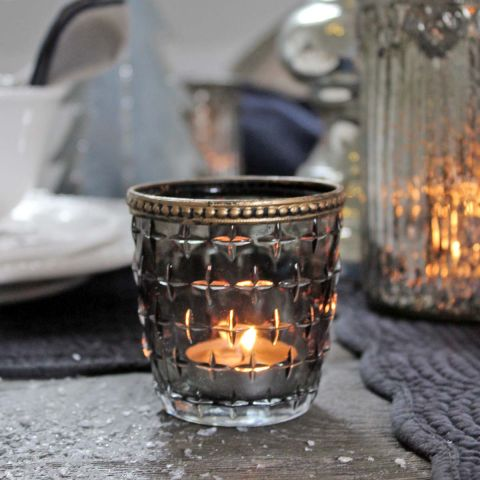 GREY GLASS TEALIGHT HOLDER
