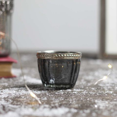 GREY GLASS TEA LIGHT HOLDER