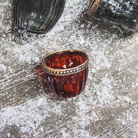 RED GLASS TEALIGHT HOLDER