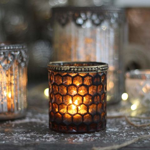 FANCY ANTIQUE GOLD TEALIGHT HOLDER