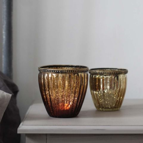 FANCY GOLD TEALIGHT HOLDER 10 CM