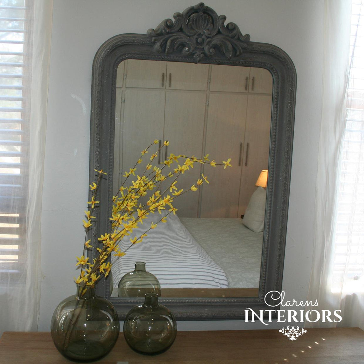 French House Wall Mirror Grey