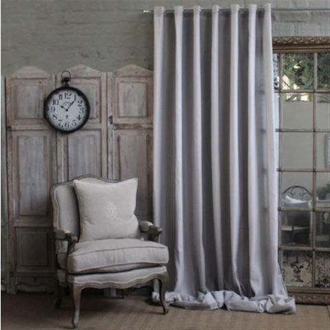WIDE WIDTH GREY NASTIA VOILE CURTAIN