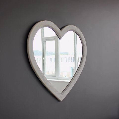GREY WASH HEART MIRROR