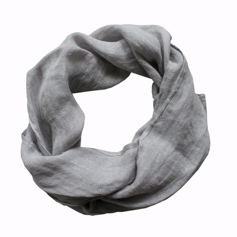 100% PURE LINEN SCARF - GREY