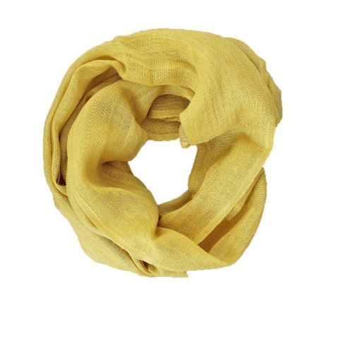 100% PURE LINEN SCARF - MUSTARD