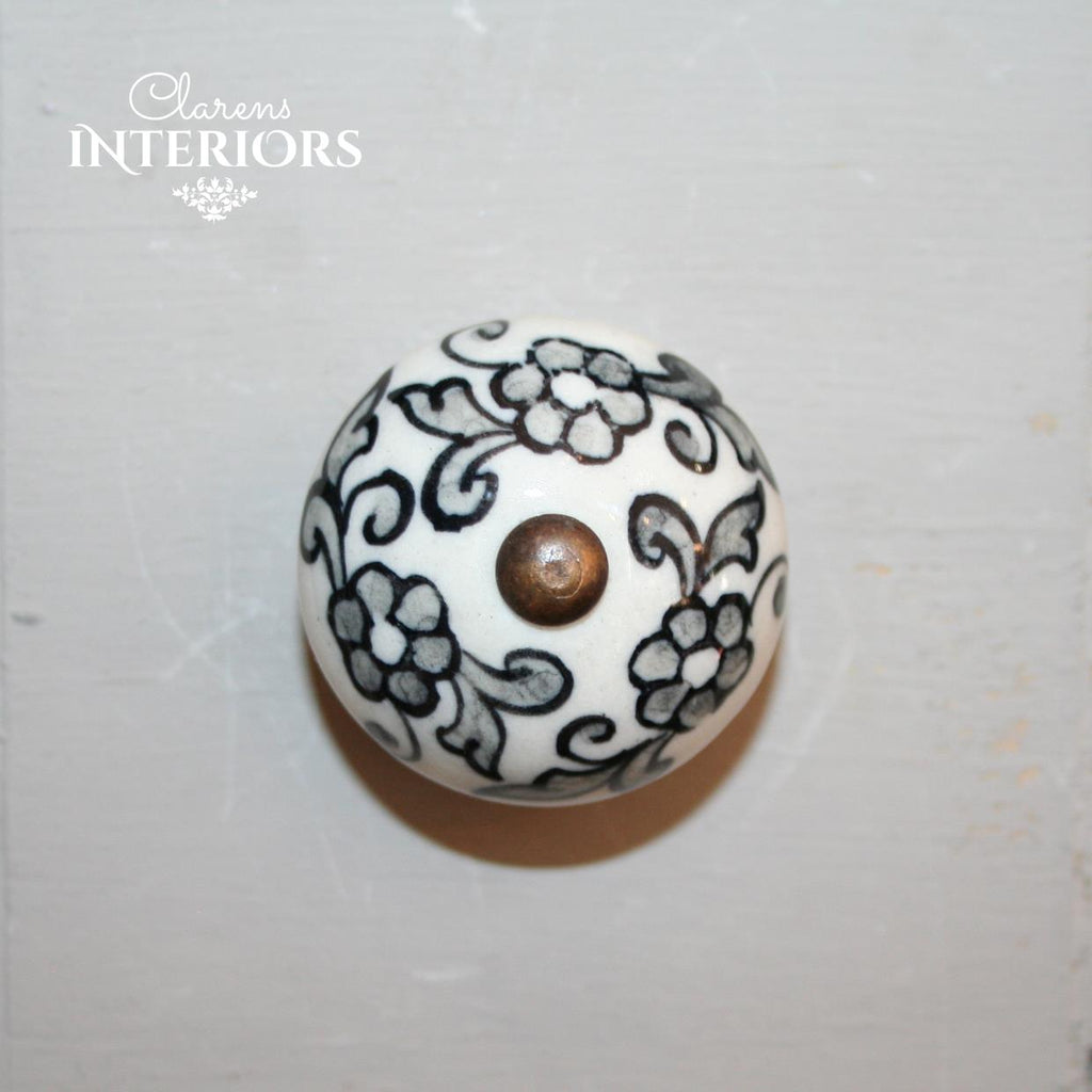Hand painted grey flower knob