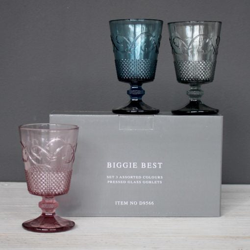 Pressed Goblets set of 3